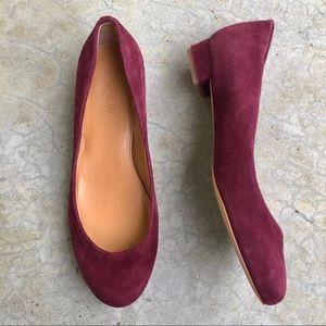 J Crew suede flats low heels shoes purple wine